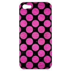 Circles2 Black Marble & Pink Brushed Metal (r) Apple Iphone 5 Hardshell Case by trendistuff