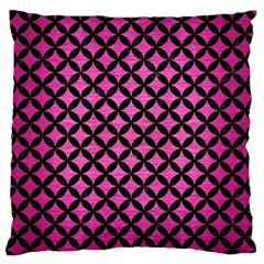 Circles3 Black Marble & Pink Brushed Metal Standard Flano Cushion Case (one Side) by trendistuff
