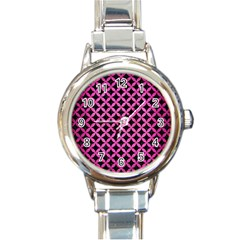 Circles3 Black Marble & Pink Brushed Metal (r) Round Italian Charm Watch by trendistuff