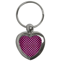Circles3 Black Marble & Pink Brushed Metal (r) Key Chains (heart)  by trendistuff