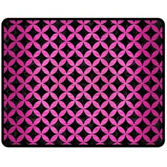 Circles3 Black Marble & Pink Brushed Metal (r) Fleece Blanket (medium)  by trendistuff