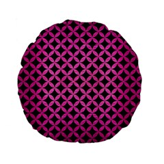 Circles3 Black Marble & Pink Brushed Metal (r) Standard 15  Premium Flano Round Cushions by trendistuff