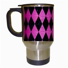 Diamond1 Black Marble & Pink Brushed Metal Travel Mugs (white) by trendistuff