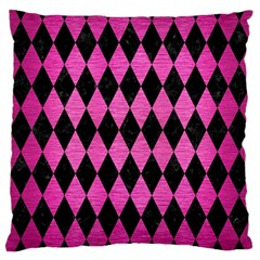 Diamond1 Black Marble & Pink Brushed Metal Large Cushion Case (two Sides) by trendistuff
