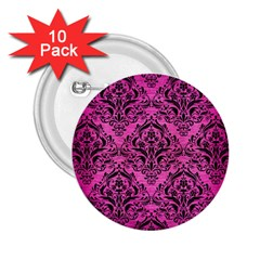 Damask1 Black Marble & Pink Brushed Metal 2 25  Buttons (10 Pack)  by trendistuff