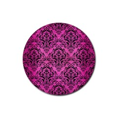 Damask1 Black Marble & Pink Brushed Metal Rubber Coaster (round)  by trendistuff