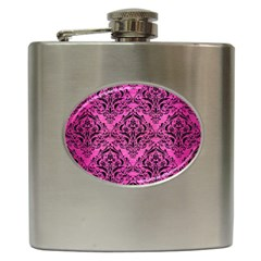 Damask1 Black Marble & Pink Brushed Metal Hip Flask (6 Oz) by trendistuff