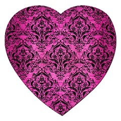 Damask1 Black Marble & Pink Brushed Metal Jigsaw Puzzle (heart) by trendistuff