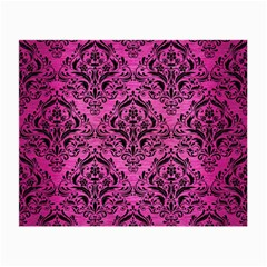 Damask1 Black Marble & Pink Brushed Metal Small Glasses Cloth (2 Side) by trendistuff