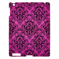 Damask1 Black Marble & Pink Brushed Metal Apple Ipad 3/4 Hardshell Case by trendistuff