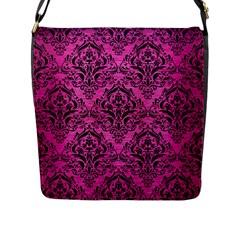 Damask1 Black Marble & Pink Brushed Metal Flap Messenger Bag (l)  by trendistuff