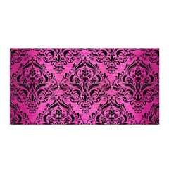Damask1 Black Marble & Pink Brushed Metal Satin Wrap