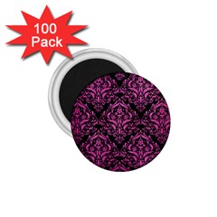 Damask1 Black Marble & Pink Brushed Metal (r) 1 75  Magnets (100 Pack)  by trendistuff