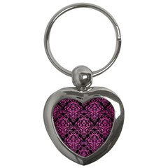Damask1 Black Marble & Pink Brushed Metal (r) Key Chains (heart)  by trendistuff
