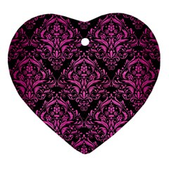 Damask1 Black Marble & Pink Brushed Metal (r) Heart Ornament (two Sides) by trendistuff
