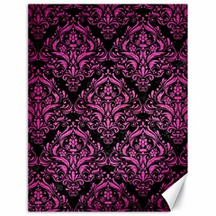 Damask1 Black Marble & Pink Brushed Metal (r) Canvas 18  X 24   by trendistuff