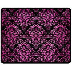 Damask1 Black Marble & Pink Brushed Metal (r) Fleece Blanket (medium)  by trendistuff