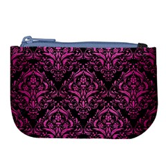 Damask1 Black Marble & Pink Brushed Metal (r) Large Coin Purse by trendistuff