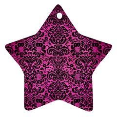 Damask2 Black Marble & Pink Brushed Metal Ornament (star) by trendistuff