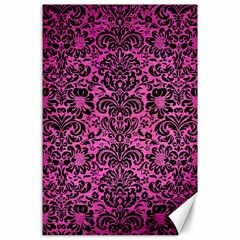 Damask2 Black Marble & Pink Brushed Metal Canvas 24  X 36  by trendistuff