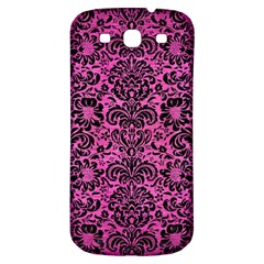 Damask2 Black Marble & Pink Brushed Metal Samsung Galaxy S3 S Iii Classic Hardshell Back Case by trendistuff