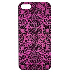 Damask2 Black Marble & Pink Brushed Metal Apple Iphone 5 Hardshell Case With Stand by trendistuff