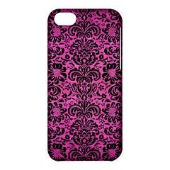 Damask2 Black Marble & Pink Brushed Metal Apple Iphone 5c Hardshell Case by trendistuff