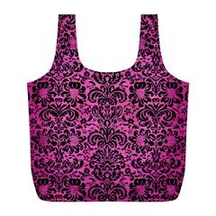 Damask2 Black Marble & Pink Brushed Metal Full Print Recycle Bags (l)  by trendistuff