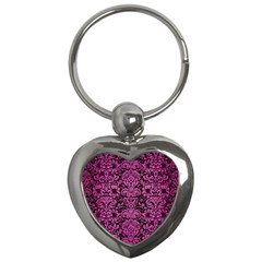 Damask2 Black Marble & Pink Brushed Metal (r) Key Chains (heart)  by trendistuff