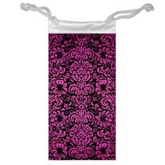 Damask2 Black Marble & Pink Brushed Metal (r) Jewelry Bag by trendistuff