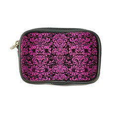 Damask2 Black Marble & Pink Brushed Metal (r) Coin Purse by trendistuff