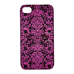 Damask2 Black Marble & Pink Brushed Metal (r) Apple Iphone 4/4s Hardshell Case With Stand by trendistuff