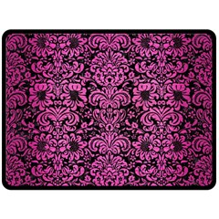 Damask2 Black Marble & Pink Brushed Metal (r) Double Sided Fleece Blanket (large)  by trendistuff