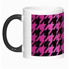 Houndstooth1 Black Marble & Pink Brushed Metal Morph Mugs by trendistuff