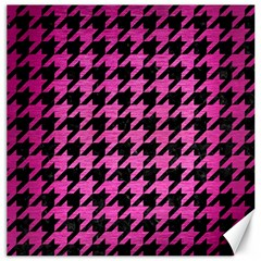 Houndstooth1 Black Marble & Pink Brushed Metal Canvas 12  X 12   by trendistuff