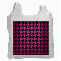 Houndstooth1 Black Marble & Pink Brushed Metal Recycle Bag (one Side) by trendistuff