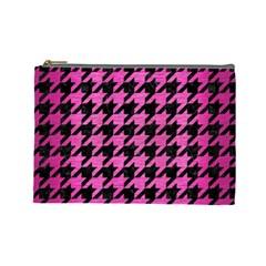 Houndstooth1 Black Marble & Pink Brushed Metal Cosmetic Bag (large)  by trendistuff