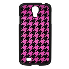 Houndstooth1 Black Marble & Pink Brushed Metal Samsung Galaxy S4 I9500/ I9505 Case (black) by trendistuff
