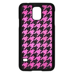 Houndstooth1 Black Marble & Pink Brushed Metal Samsung Galaxy S5 Case (black) by trendistuff
