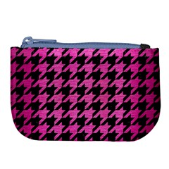Houndstooth1 Black Marble & Pink Brushed Metal Large Coin Purse by trendistuff