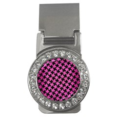 Houndstooth2 Black Marble & Pink Brushed Metal Money Clips (cz)  by trendistuff