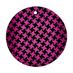 Houndstooth2 Black Marble & Pink Brushed Metal Round Ornament (two Sides) by trendistuff