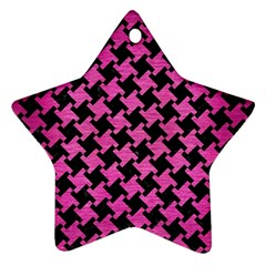 Houndstooth2 Black Marble & Pink Brushed Metal Star Ornament (two Sides) by trendistuff