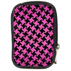 Houndstooth2 Black Marble & Pink Brushed Metal Compact Camera Cases by trendistuff