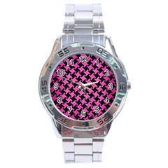 Houndstooth2 Black Marble & Pink Brushed Metal Stainless Steel Analogue Watch by trendistuff