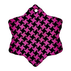Houndstooth2 Black Marble & Pink Brushed Metal Snowflake Ornament (two Sides) by trendistuff