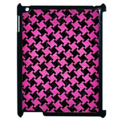 Houndstooth2 Black Marble & Pink Brushed Metal Apple Ipad 2 Case (black) by trendistuff