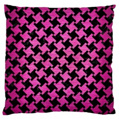 Houndstooth2 Black Marble & Pink Brushed Metal Large Cushion Case (one Side) by trendistuff
