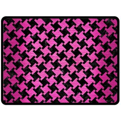 Houndstooth2 Black Marble & Pink Brushed Metal Double Sided Fleece Blanket (large)  by trendistuff