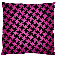 Houndstooth2 Black Marble & Pink Brushed Metal Large Flano Cushion Case (one Side) by trendistuff